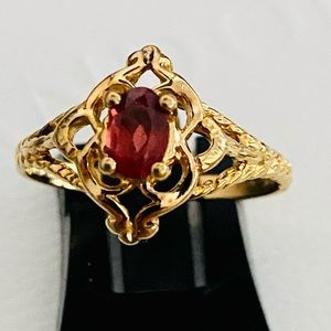 14k gold over silver garnet ring